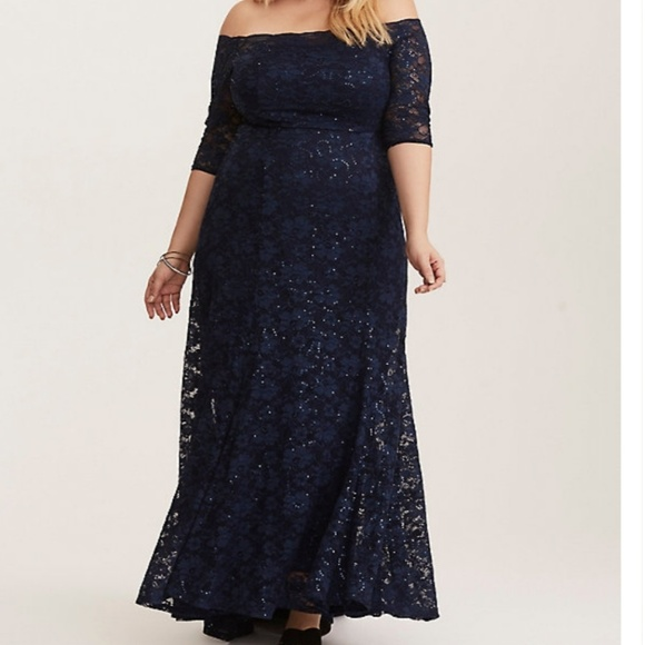 torrid Dresses & Skirts - SPECIAL OCCASION NAVY SEQUIN & LACE CHIFFON GOWN